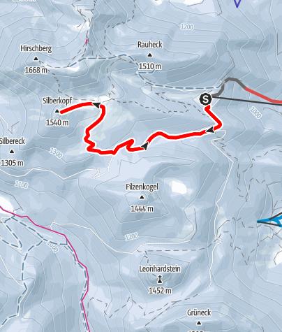 Map / Silberkopf (1540 m) von der Gründhütte