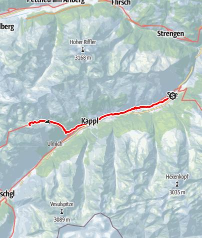 Karte / 02 Zentralalpenweg West, E33: See im Paznauntal - Niederelbehütte