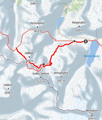 Karte / 02 Zentralalpenweg West, E37: Madlenerhaus – Tübinger Hütte