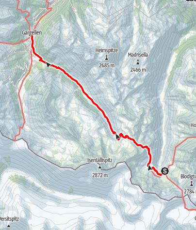 Karte / 02 Zentralalpenweg West, E38: Tübinger Hütte – Gargellen