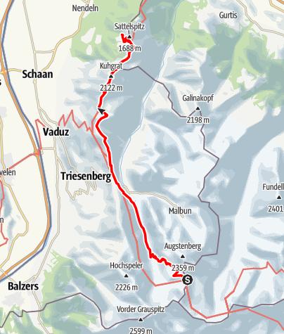 Karte / 02 Zentralalpenweg West, E42: Pfälzer Hütte – Gafadurahütte