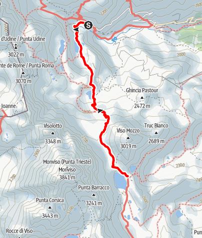 Karte / Giro del Monviso 1.Etappe: Pian del Re - Rifugio Quintino Sella