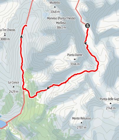 Karte / Giro del Monviso 2.Etappe: Rifugio Quintino Sella - Rifugio Vallanta