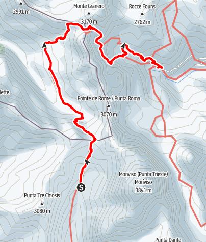 Karte / Giro del Monviso 3.Etappe: Rifugio Vallanta - Pian del Re