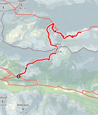 Karte / Via Alpina: Pestkapelle - Reintalanger Hütte (day 91)