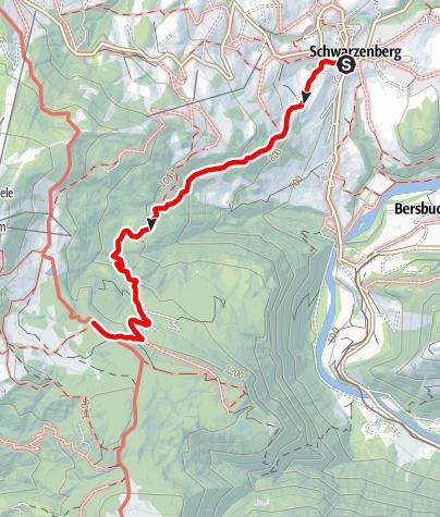 Map / Zustieg von Schwarzenberg zur Lustenauer Hütte