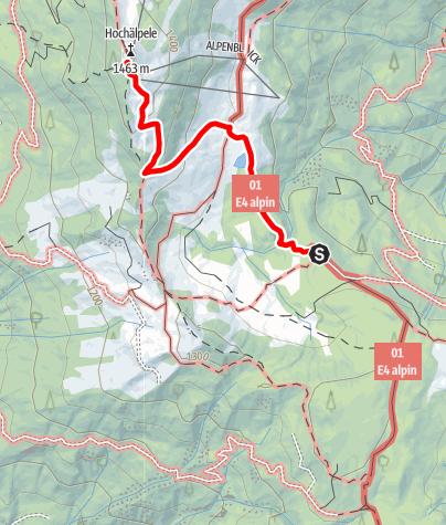 Karte / Übergang von der Lustenauer Hütte zur Hochälpelehütte
