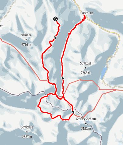 Karte / Wochenend-Rundtour Tübinger Hütte