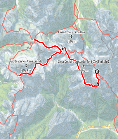 Map / Dolomites without borders: Day 2: Rifugio Carducci - Three Peaks