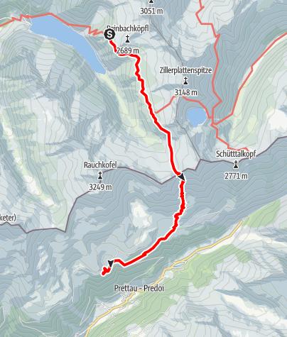 Karte / Ahrntaler Schmugglerpfade (UZS) - Etappe 2.b: Von der Plauener Hütte über das Heiliggeistjöchl zur Waldneralm