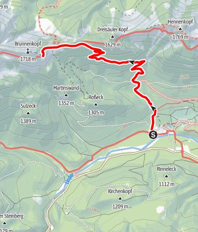 Karte / Zustieg Brunnenkopfhütte von Linderhof