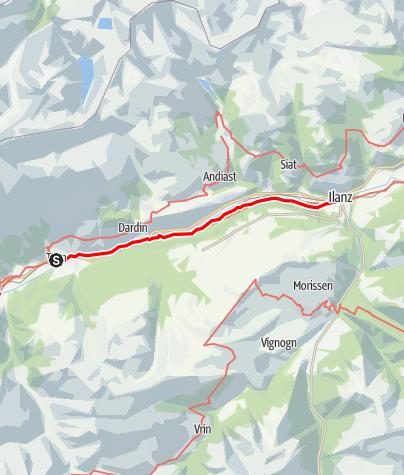 Karte / Rheinwanderung: Trun - Ilanz