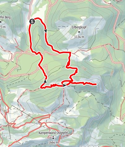 Karte / Rundtour auf die Gederer Wand