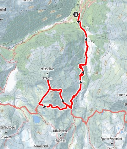 Map / Nürnberger Hütte, 2280 m, und Mairspitze, 2775 m