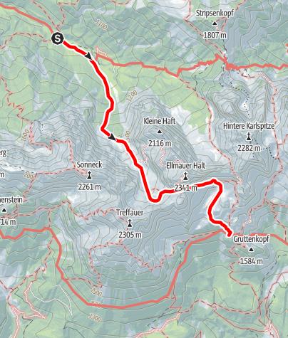 Karte / Übergang Anton Karg Haus zur Gruttenhütte