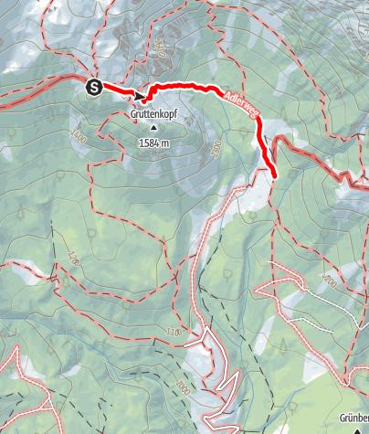 Karte / Übergang Gruttenhütte zur Gaudeamushütte