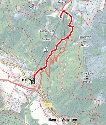 Karte / Aufstieg Erfurter Hütte von Maurach