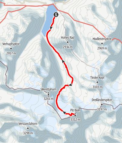 Karte / Großer Piz Buin (3312 m) über die Wiesbadener Hütte (2443 m)