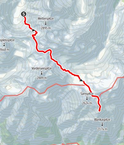 Karte / Übergang Frederic Simms Hütte zur Ansbacher Hütte