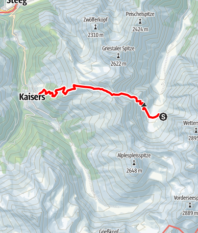Karte / Übergang Frederic Simms Hütte zum Edelweißhaus
