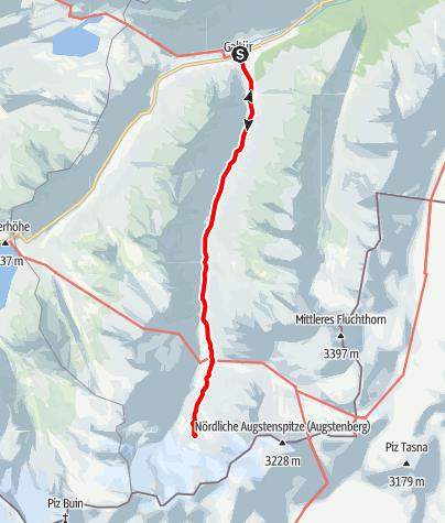 Karte / Rußkopf, 2693m, und Jamtalhütte, 2165m, von Galtür