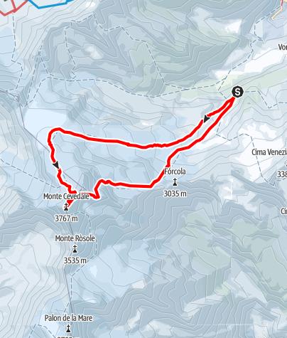 Karte / Monte Cevedale, 3767m ab der Marteller Hütte