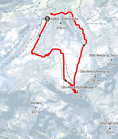Karte / Köllkuppe/Marmotta,3330m ab der Marteller Hütte