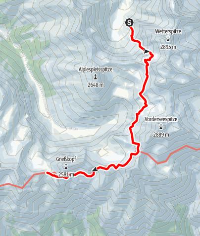Karte / Übergang Frederic Simms Hütte zum Kaiserjochhaus