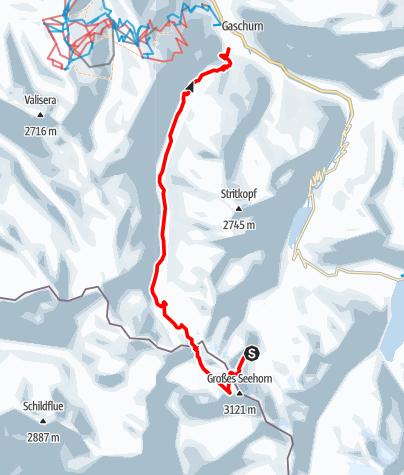 Karte / Seehornscharte - Tübinger Hütte - Partenen