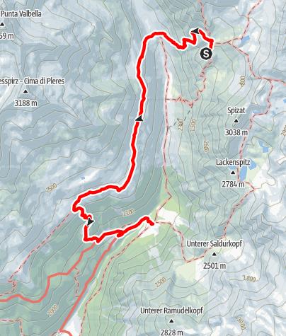 Karte / Von der Oberetteshütte über die Klamm und den Höhenweg zur Matscher Alm