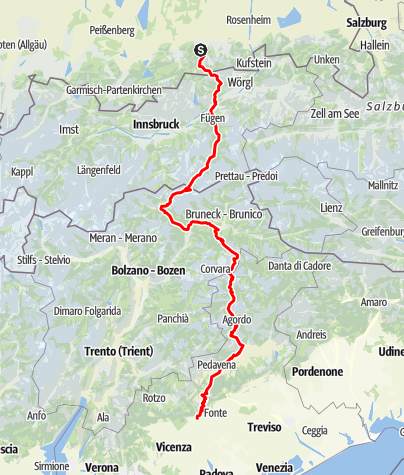 Karte / Transalp Tegernsee - Bazano del Grappa