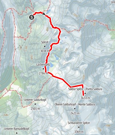 Karte / Auf die einsame Saldurspitze 3.433m