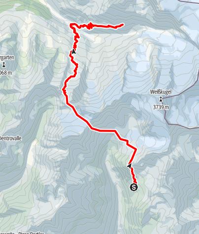 Karte / Von der Oberetteshütte nach Langtaufers und zur Weißkugelhütte