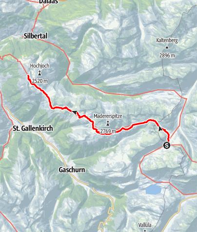 Karte / Übergang Neue Heilbronner Hütte zur Wormser Hütte