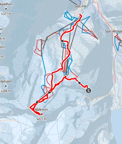 Map / Allalinhorn4027m von der Britannia
