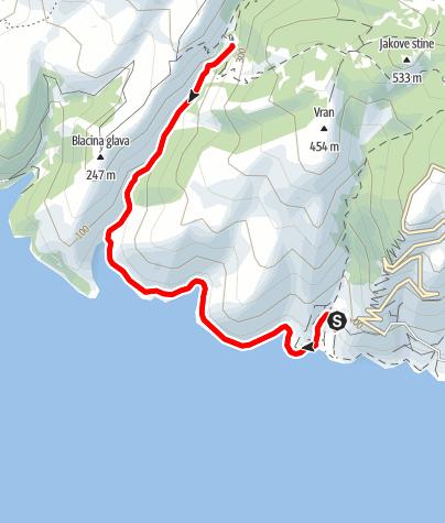 Karte / Insel Brač: Südküste – Blaca