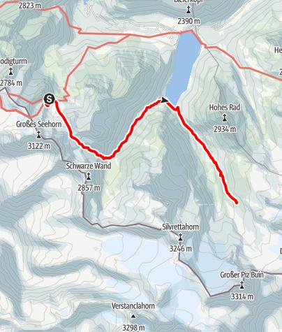 Karte / Übergang Saarbrücker Hütte zur Wiesbadener Hütte
