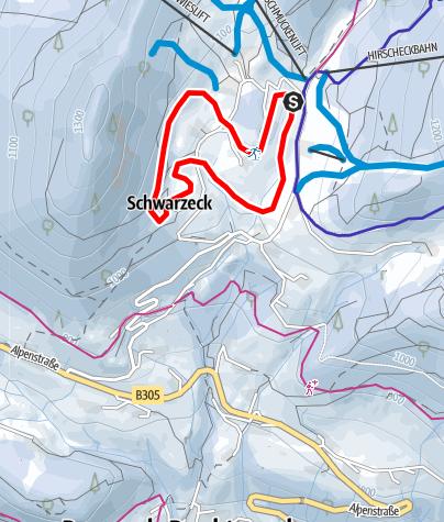 Karte / Langlaufloipe Hochschwarzeck