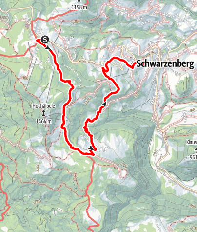 Map / Schwarzenberg-Bödele   Lustenauer Hütte, St. Ilga, Schwarzenberg