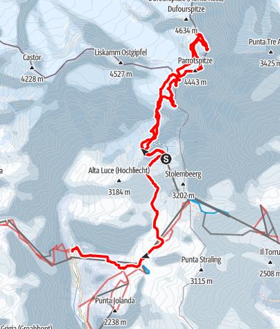 Karte / Monte Rosa Süd:  4000er Parade aus dem Aostatal