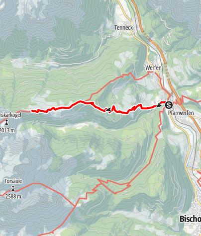 Karte / Zustieg Ostpreußenhütte von Pfarrwerfen