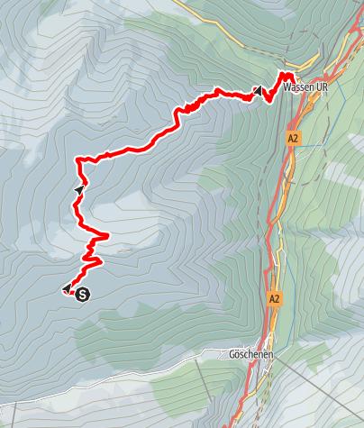Karte / Alpenkranz 31. Etappe: Salbithütte - Sustenpass
