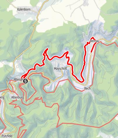 Karte / Rotweinwanderweg von Altenahr nach Dernau
