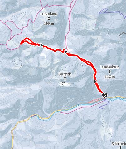 Karte / Seekarkreuz über Schwarzentenn
