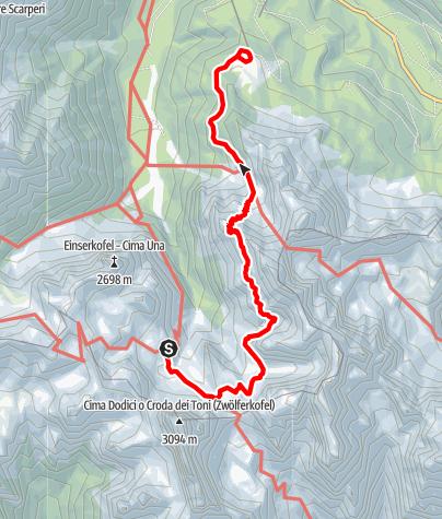 Map / Alpine tour - Dolomites without borders - stage 4 – Rif. Comici - Rif. Prati di Croda Rossa/Rif. Rudi