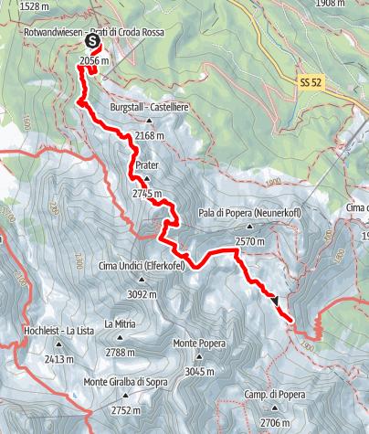 Map / Alpine tour - Dolomites without borders - stage 5 – RIF. PRATI DI CRODA ROSSA/RIF. RUDI-HÜTTE - RIF. BERTI