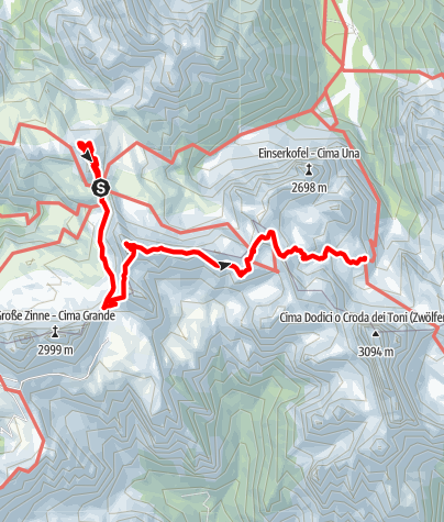Map / Alpine tour - Dolomites without borders - stage 3 - Three Peaks - Rif. Comici