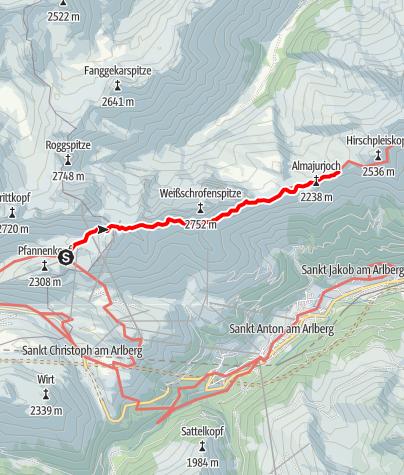 Map / Übergang Ulmer Hütte zur Leutkircher Hütte