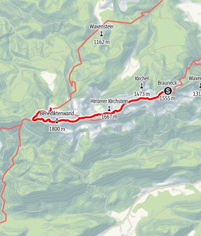 Karte / Übergang Brauneck Haus zur Tutzinger Hütte über Bendiktenwand