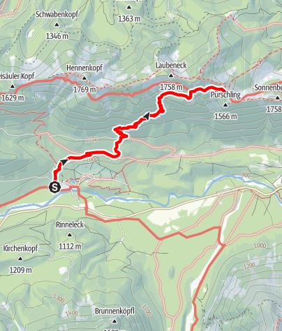 Map / Zustieg August Schuster Haus von Linderhof